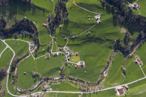 Aerial view of Necker, Canton of St. Gallen, Switzerland - FBAF00808