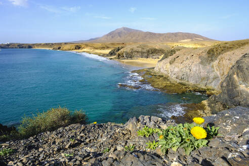 Playa de la Cera und Playa del Pozo, Papagayo-Str�nde, Playas de Papagayo, Naturpark Monumento Natural de Los Ajaches, bei Playa Blanca, Lanzarote, Kanarische Inseln, Spanien - SIEF08708