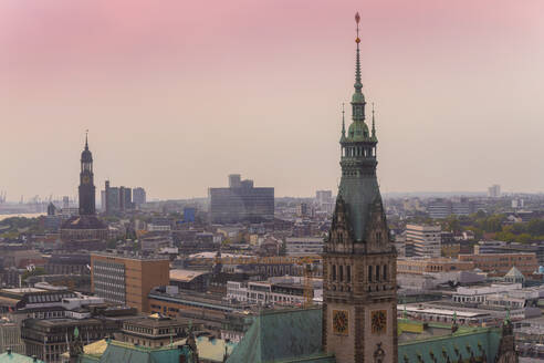 Cityscape with city hall tower and old town, Hamburg, Germany - TAMF01620