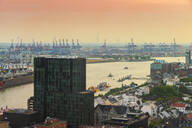 View of harbor and Landing Stages at dusk, St. Pauli, Hamburg, Germany - TAMF01626
