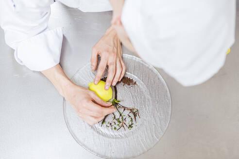 Junior chef prepairing a dessert plate - LJF00181