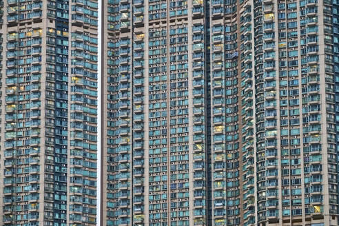 Partial view of apartment tower, Kowloon, Hong Kong, China - MRF02106