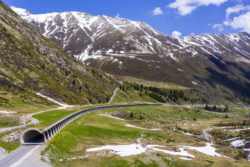Luftaufnahme, Galerie am Kühtai Pass, Tirol, Österreich - STSF02056