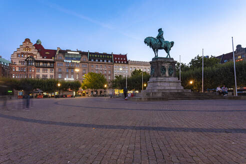 Charles X Gustav statue at city square against sky at dusk in Malmo, Sweden - TAMF01662