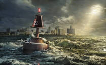 Buoy in rocky waves, Detroit, Michigan, United States - BLEF07928