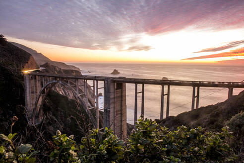 High angle view of Bixby Bridge and sunset sky, Big Sur, California, United States - BLEF08080