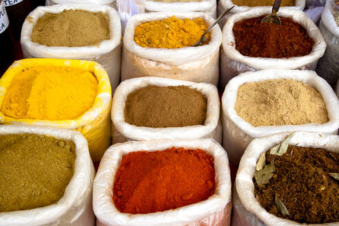 Variety of colorful Indian spices in sacks - BLEF08406