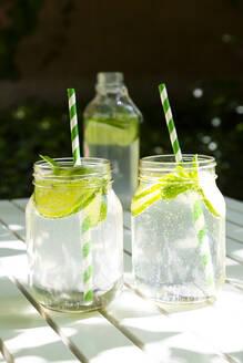 Two glasses of lime-mint lemonade on garden table - LVF08123