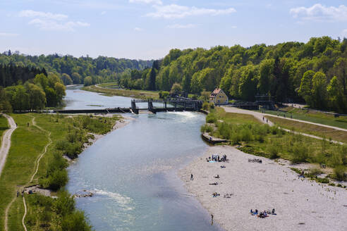 Isar, Wehr Großhesselohe bei Pullach im Isartal, Oberbayern, Bayern, Deutschland - SIEF08736