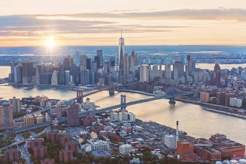 Aerial view of New York City skyline and sunset, New York, United States - BLEF08879