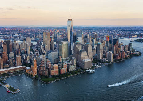 Aerial view of New York City cityscape, New York, United States - BLEF08882