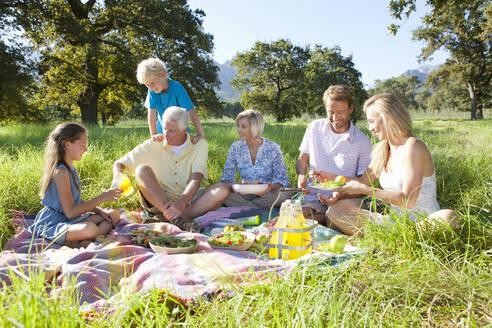 Multi-generation family having picnic in rural field - JUIF02160