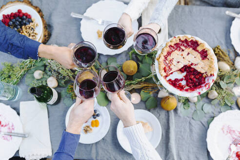 Friends toasting with wine at outdoor table - BLEF09323