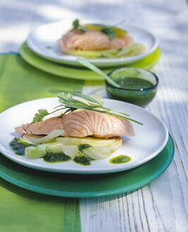 Poached Salmon Filet with Pesto outside in the garden on the table - PPXF00207