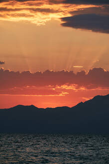 Sunrise over Athos Mountain view from the sea , Halkidiki, Greece - BZF00496