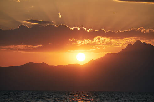Sunrise over Athos Mountain view from the sea , Halkidiki, Greece - BZF00499