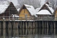 Germany, Baden-Wurttemberg, Snow covered stilt houses on Lake Constance - SHF02194