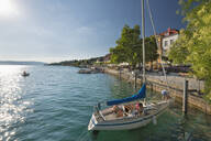 Germany, Baden-Wurttemberg, Sailboat moored on Lake Constance - SH02209