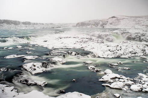Iceland, South Iceland, Urriðafoss waterfall in winter - TAMF01727