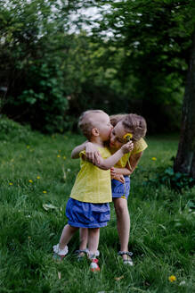 Little girl kissing her sister on a meadow - OGF00029