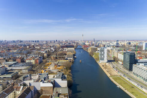 High angle view of river amidst buildings in Berlin against sky - TAMF01775