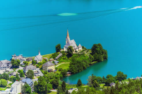 High angle view of church from Pyramidenkogel tower at Woerthersee - THAF02530