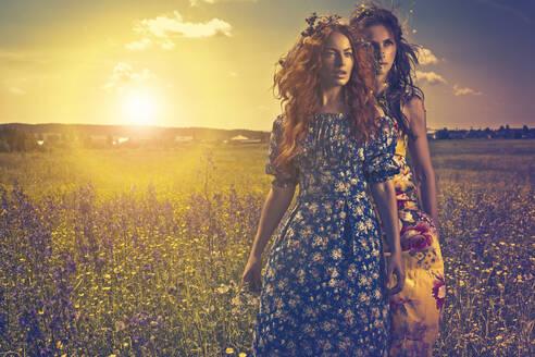 Caucasian women in rural field - BLEF09690