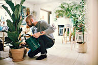 Full length of man kneeling while watering potted plant at home - MASF13240
