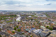 Aerial view of Haarlem city against cloudy sky - TAMF01817