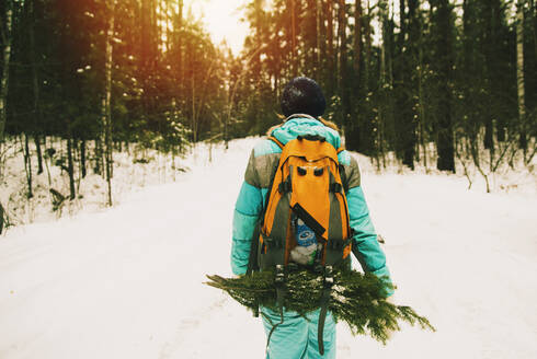 Caucasian hiker carrying branches in snowy forest - BLEF09931