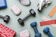 View from above dumbbells and exercise equipment - knolling - FSIF04109