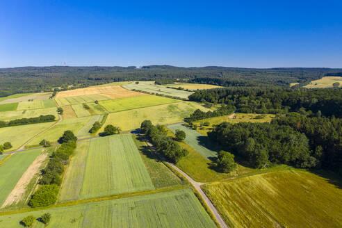 Luftaufnahme, Deutschland, Hessen, Hochtaunuskreis, Wetterau Landwirtschaftliche Anbaufläche, Wiesen, Getreidefelder, Äcker, Wälder - AMF07198