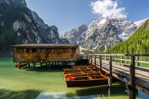 Boathouse at Pragser Wildsee, Braies Dolomites, Alto Adige, Italy - STSF02115