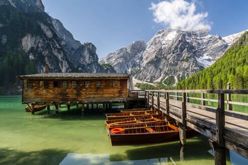 Boathouse at Pragser Wildsee, Braies Dolomites, Alto Adige, Italy - STSF02115