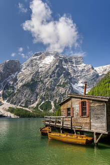 Boathouse at Pragser Wildsee, Braies Dolomites, Alto Adige, Italy - STSF02118
