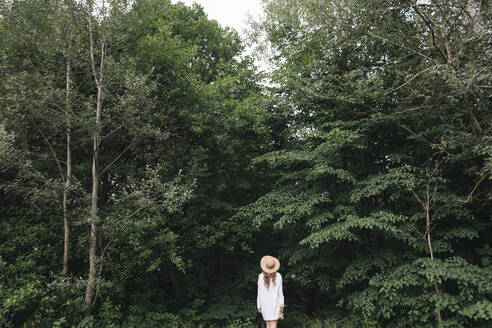 Rear view of a young woman with hat in a forest - AHSF00583