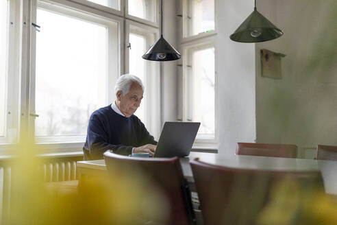 Senior man using laptop on table at home - GUSF02043