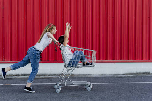 Sisters with shopping cart in front of red wall - ERRF01631