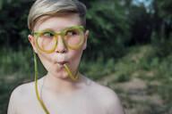 Portrait of freckled boy with funny glasses - VPIF01396