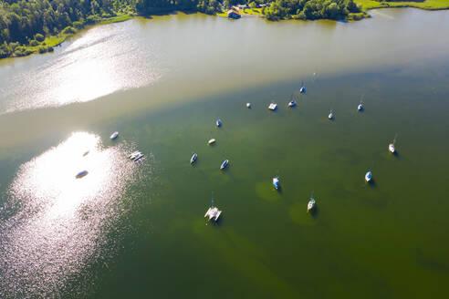 Aerial view over sailing boats at Lake Starnberg, Bavaria, Germany - LHF00652