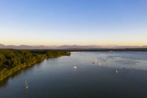 View over Lake Starnberg near Sankt Heinrich at dusk, Bavaria, Germany - LHF00655