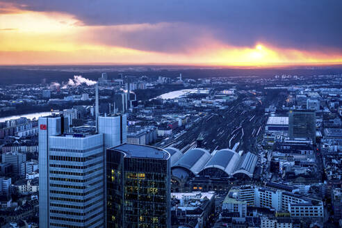 View over Frankfurt city center at dusk, Germany - PU01706