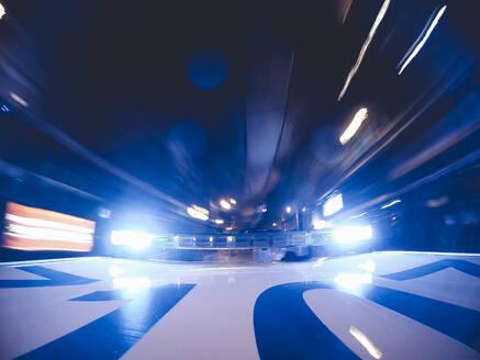 Police patrol lights on car roof, Madrid, Spain - OCMF00510
