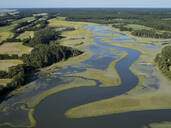 Aerial photograph of marshes along the Atlantic Coastline of Virginia near the community of Red Banks, USA - BCDF00412