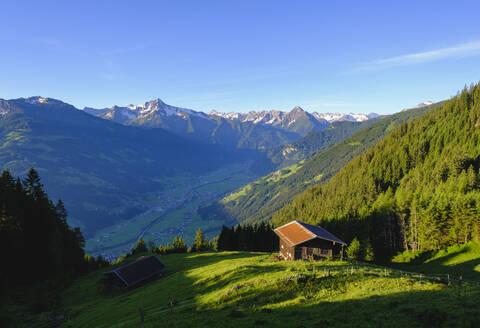 Zillertal, Almh�tten an der Zillertaler H�henstra�e in Zellberg, Ahornspitze und Dristner in Zillertaler Alpen, Tirol, �sterreich - SIEF08787