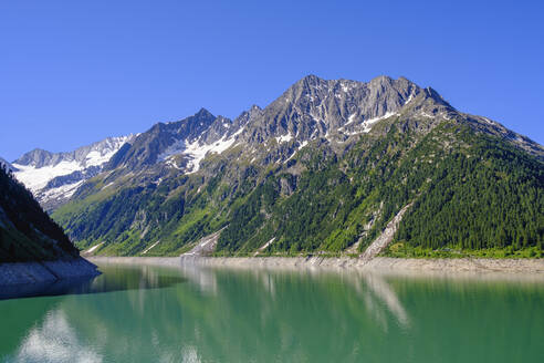 Schlegeisspeicher, Schlegeis-Stausee, Hochsteller und Zamser Egg, Zillertaler Alpen, bei Finkenberg, Zillertal, Tirol, Österreich - SIEF08796