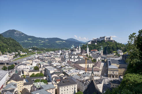 View from Moenchsberg to old town, Salzburg, Austria - ELF02027