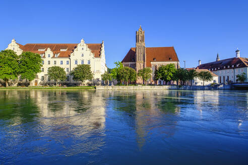 Church of the holy spirit and Main Post Office with river Isar, Landhut, Lower Bavaria, Germany - SIEF08821