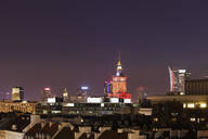 Cityscape at night, downtown district, Warsaw, Poland - ABOF00430
