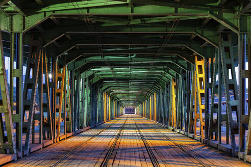 Gdanski Bridge with tramway track at night, Warsaw, Poland - ABOF00439